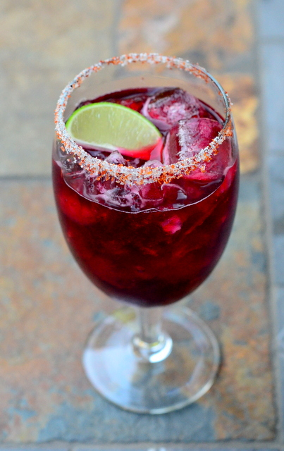 Hibiscus Margarita with Spiced Salt
